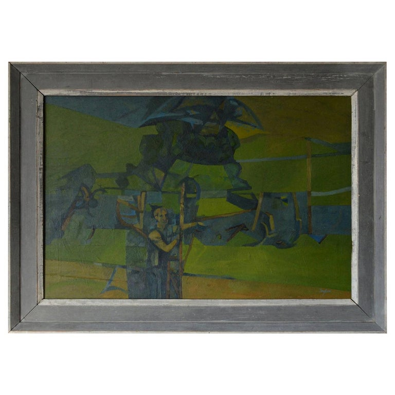 Great painting of a figure in an abstract landscape