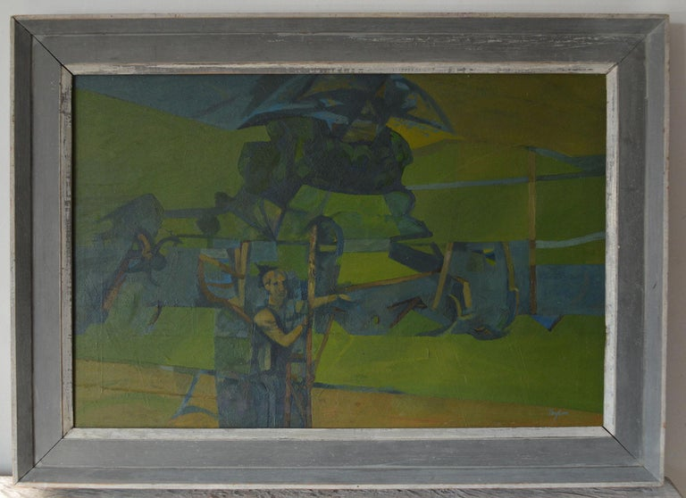 Mid-Century Modern Figure in an Abstract Landscape, A. C. Taylor, circa 1950