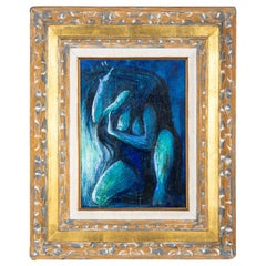 """Figure in Blue"", Oil on Canvas, Framed"