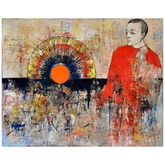 Figure in Red Contemplating an Orange Sunset on a Night Scene with Many People