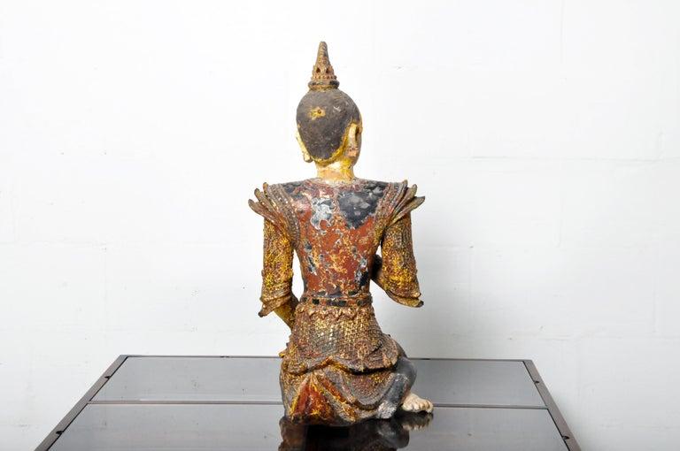 Teak Figure of a Thai Angel For Sale