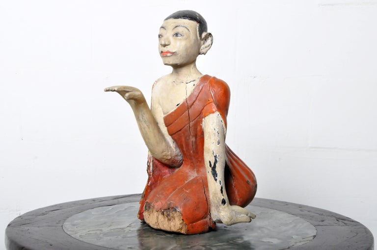Figure of a Thai Monk In Good Condition For Sale In Chicago, IL