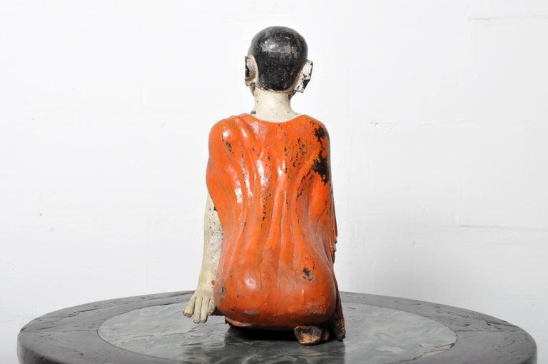 Teak Figure of a Thai Monk For Sale