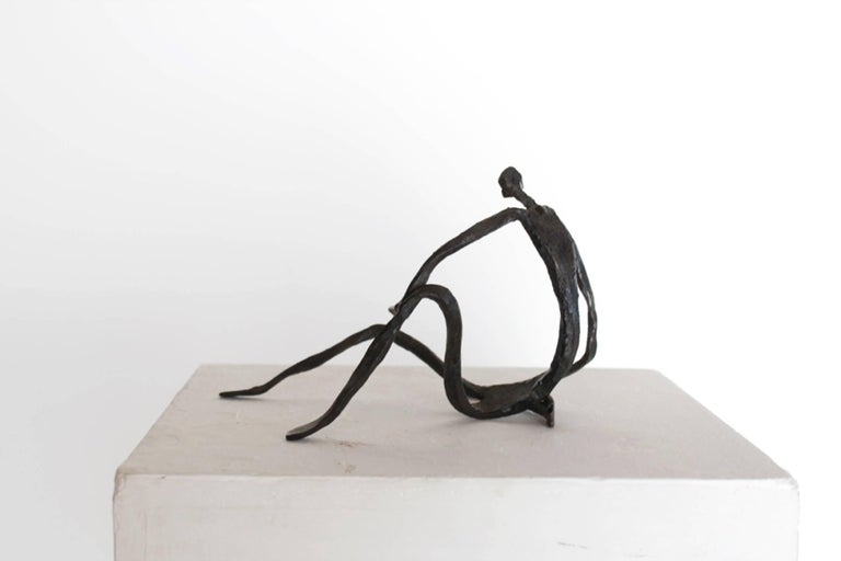 Italian Modern Figurative Sculpture in Hand-Forged Textured Wrought Iron For Sale