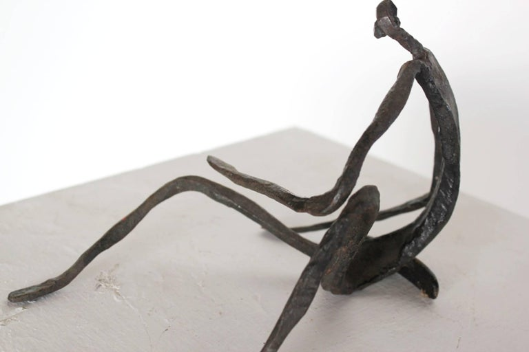 20th Century Modern Figurative Sculpture in Hand-Forged Textured Wrought Iron For Sale