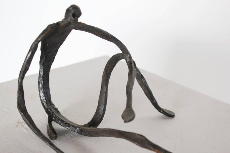 Modern Figurative Sculpture in Hand-Forged Textured Wrought Iron For Sale 1
