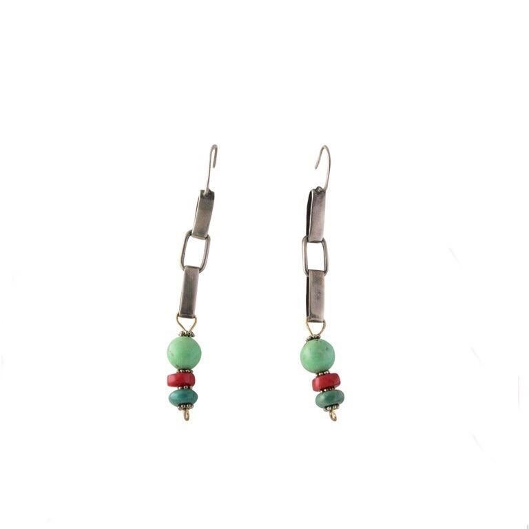Modern Exolette Figured Turquoise Red Coral Green Turquoise Necklace Earring Set For Sale