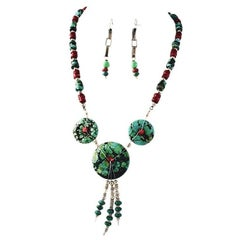 Exolette Figured Turquoise Red Coral and Green Turquoise Necklace Earring Set