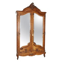 Figured Walnut Beveled Mirror Two Door French Louis XV Armoire, Circa 1890