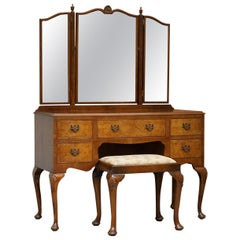 Figured Walnut Dressing Table & Stool Part of Suite Trifold Mirrors, circa 1930s
