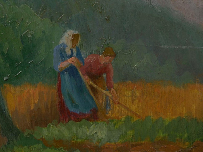 """Figures Working the Field"" Antique Oil Landscape Painting by Johannes Lippmann For Sale 7"