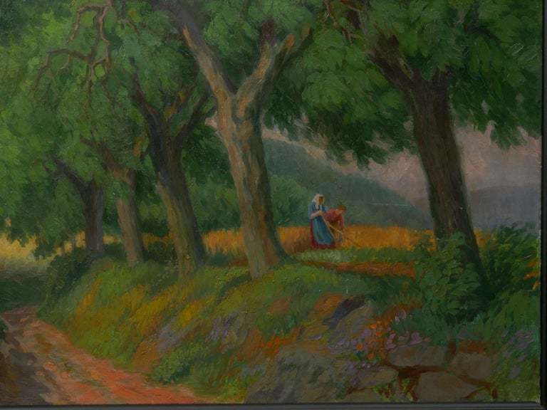 """Figures Working the Field"" Antique Oil Landscape Painting by Johannes Lippmann In Good Condition For Sale In Shippensburg, PA"