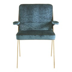 Fiji Armchair in Fabric with Metal Frame by Roberto Cavalli Home Interiors