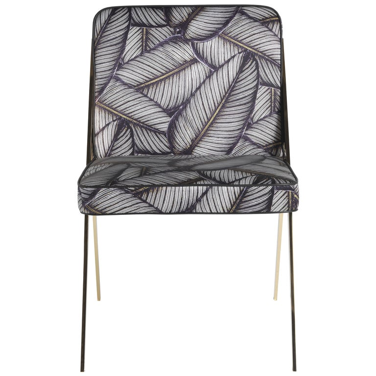 Fiji Chair in Fabric with Metal Frame by Roberto Cavalli Home Interiors For Sale