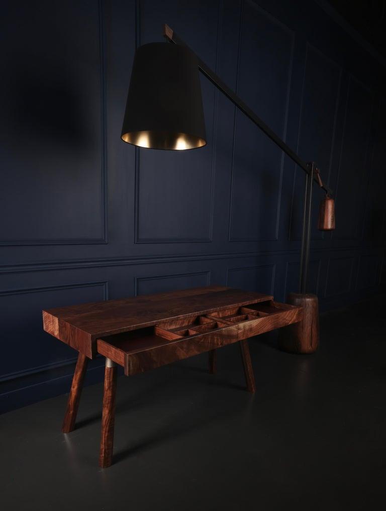 Hand-Crafted FIJN Desk in Solid Oregon Black Walnut For Sale