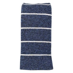 FIL D'ECOSSE Navy & White Striped Cotton Knit Square Tie