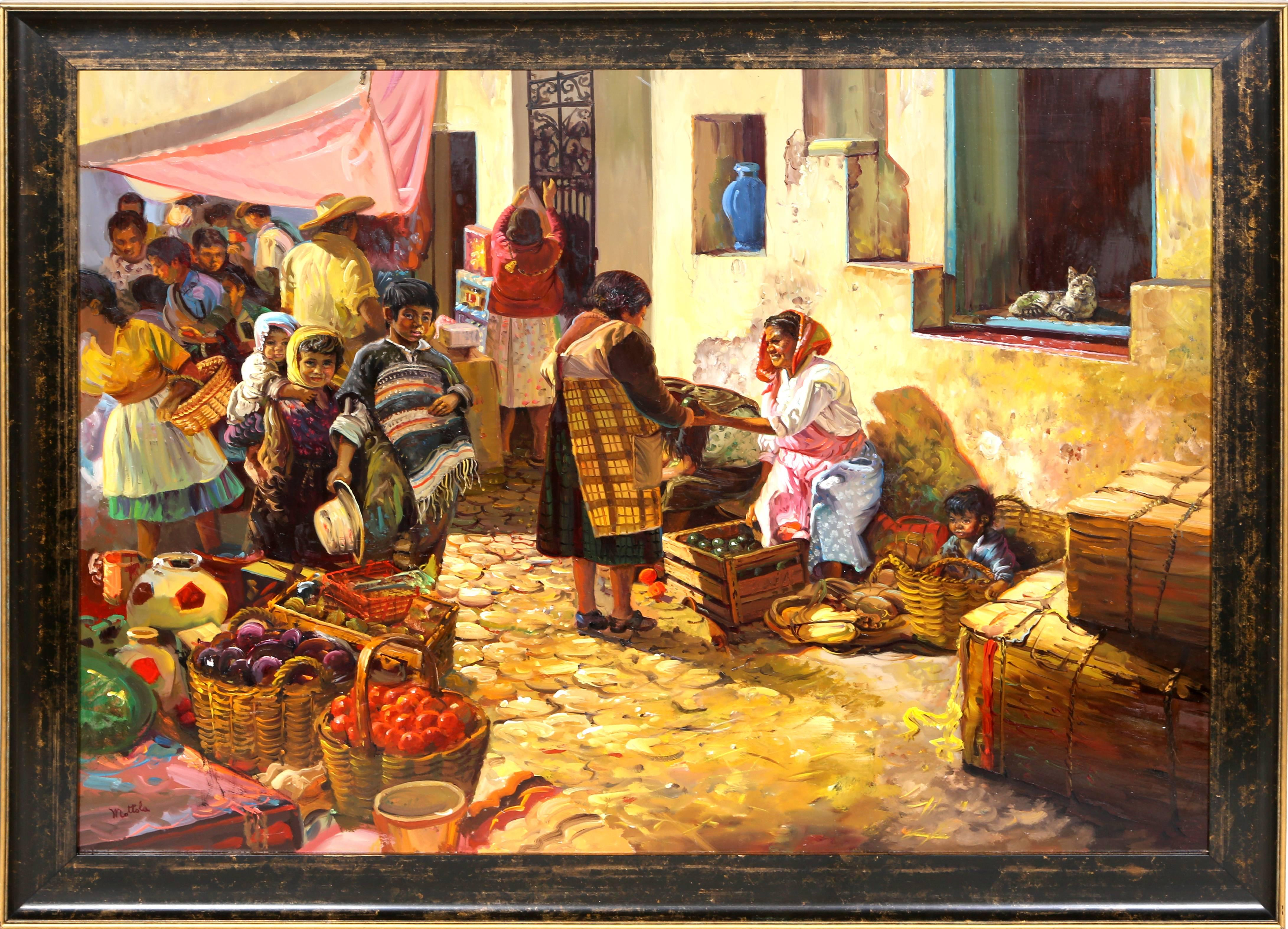 Market Place, Taxco Mexico, Oil Painting by Fil Mottola
