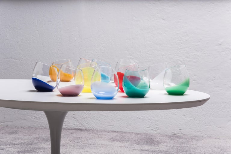Italian 21st Century Karim Rashid Glasses Murano Glass Various Colors For Sale