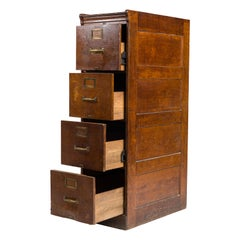 File Cabinet of Massively Stained Oak with Four Drawers Vintage Office Furniture