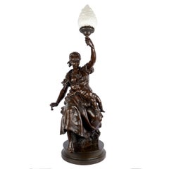 """Fileuse et Enfant"" Torchiere Lamp Antique Bronze Sculpture by Emile Peynot"