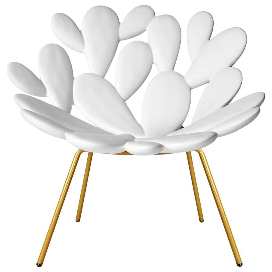 In Stock in Los Angeles, White & Brass Outdoor Cactus Chair by Marcantonio