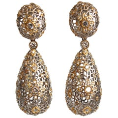 Filigree and Zircon Clip Earrings