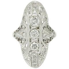 Filigree Art Deco Diamond Ring Dinner Style Openwork 18 Karat White Gold