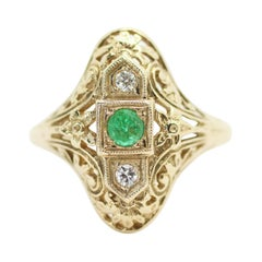 Filigree Art-Deco Inspired Round Cut Colombian Emerald Ring in 14k Yellow Gold
