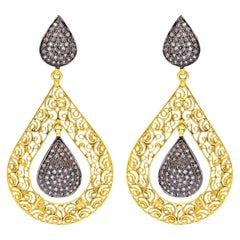 Filigree Diamond 18 Karat Gold Two-Tone Earrings
