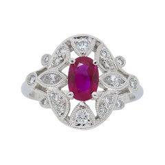 Filigree Diamond and Ruby Ring in Platinum