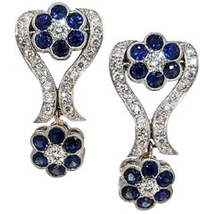 Filigree Diamond and Sapphire Flower Motif Earrings