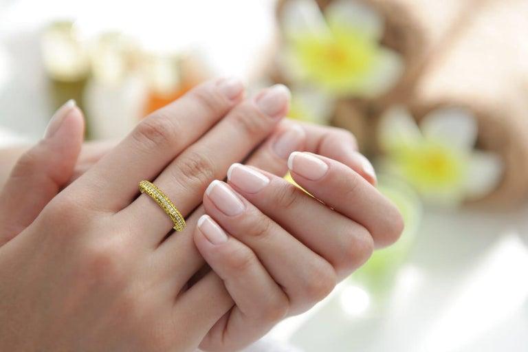 Women's or Men's Filigree Diamond Band Ring 14K Yellow Gold For Sale