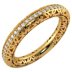 Filigree Diamond Band Ring 14K Yellow Gold