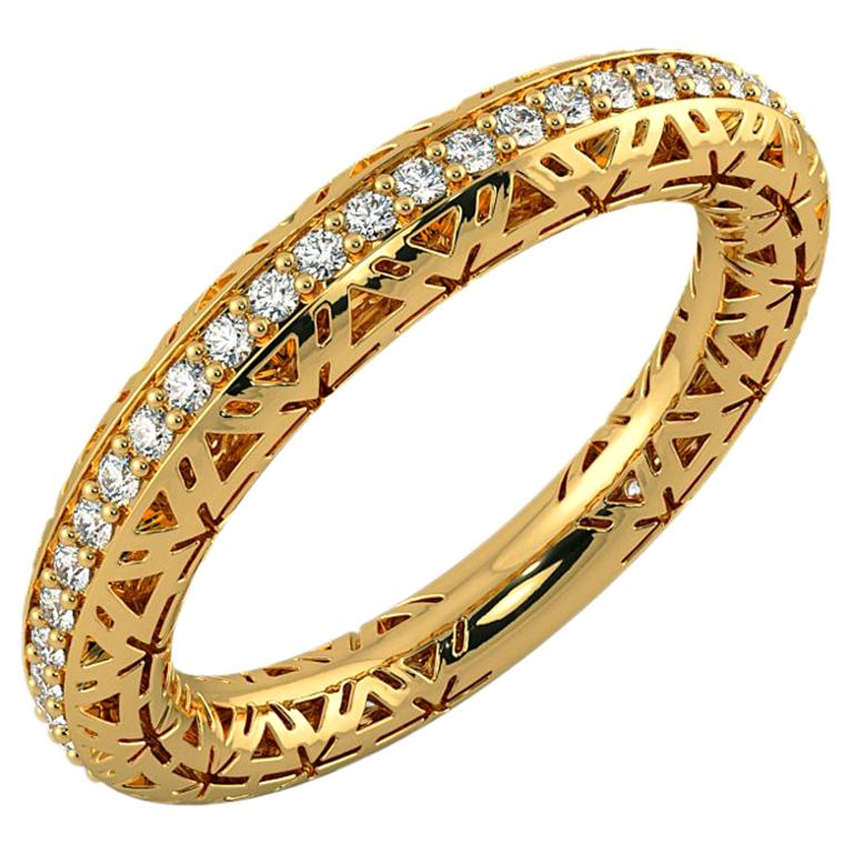 Filigree Diamond Band Ring 14K Yellow Gold For Sale