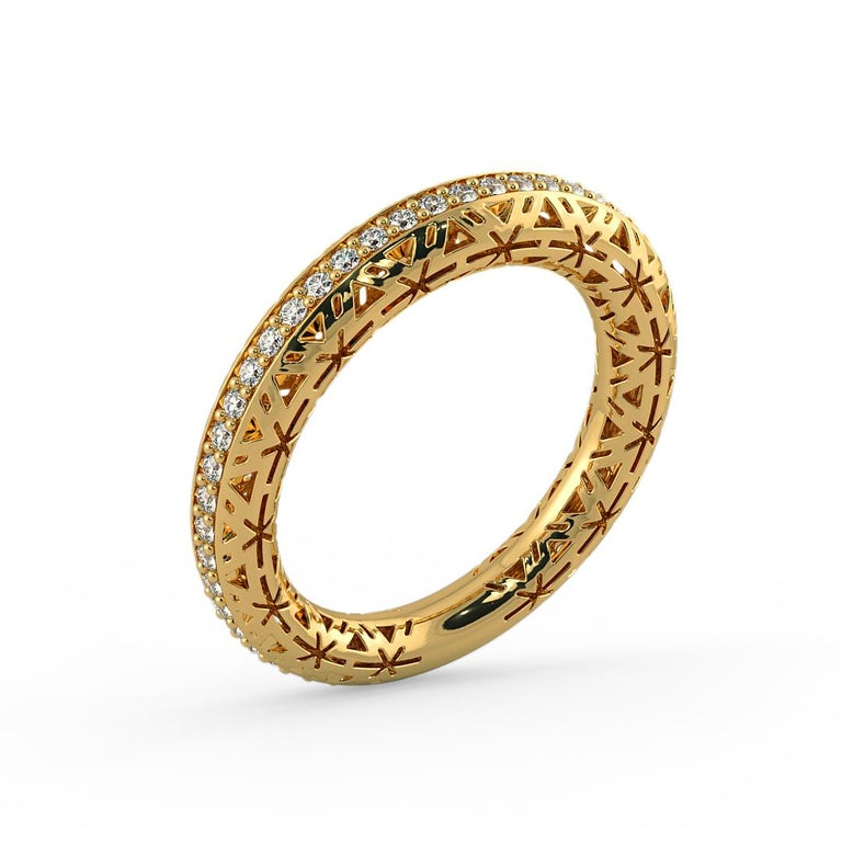 Hand Crafted diamond Band ring is set with 45 diamonds which totals to 0.45 carat weight. Our one of a kind ring has a vintage style band with intricate detail on the sides to give it a unique and vintage look.  Jewel Details: 45 Diamonds D-E /
