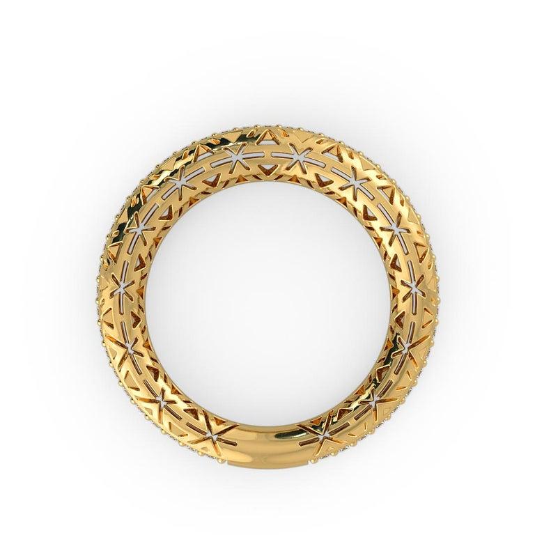 Art Deco Filigree Diamond Band Ring 14K Yellow Gold For Sale
