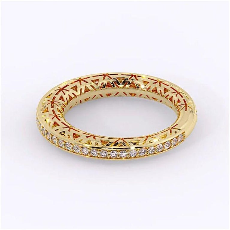 Round Cut Filigree Diamond Band Ring 14K Yellow Gold For Sale
