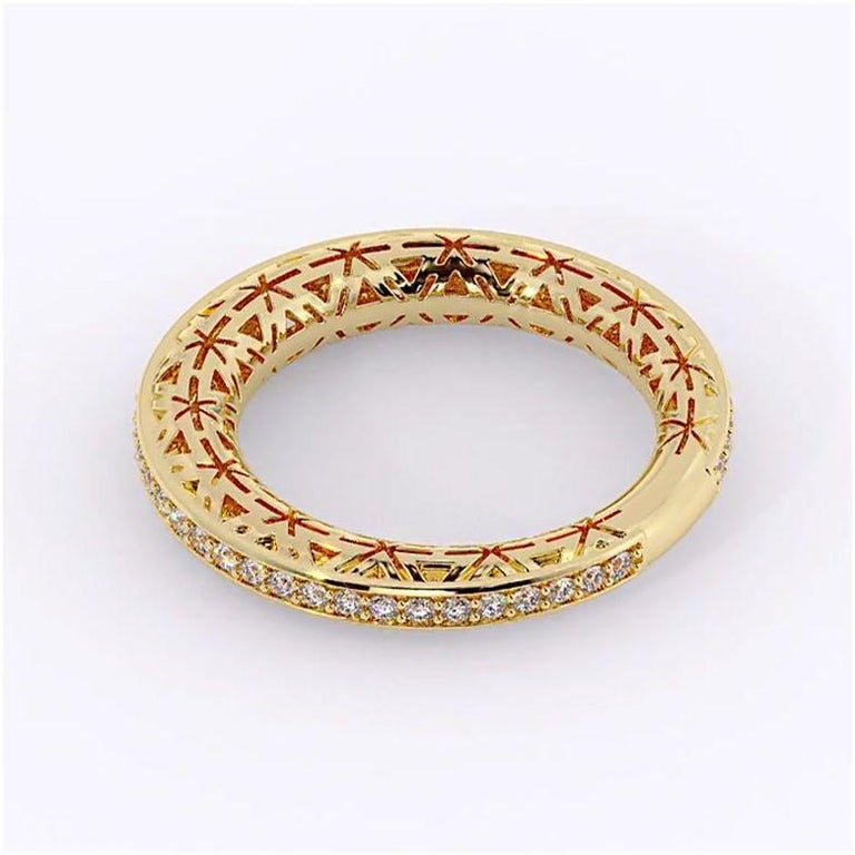 Filigree Diamond Band Ring 14K Yellow Gold In New Condition For Sale In New York, NY