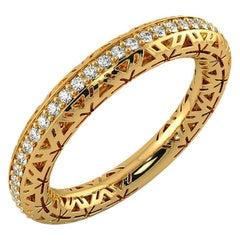Filigree Diamond Band Ring 14k Yellow Gold