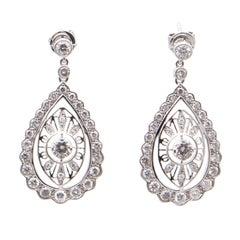 Filigree Diamond Drop Earrings in 18 Carat White Gold