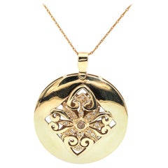 Filigree Diamond Motif Vintage 9 Carat Yellow Gold Pendant and 9 Carat Chain