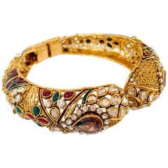 Filigree Faux Tourmaline Ornate Gold Bangle Bracelet