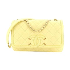 Filigree Flap Bag Quilted Caviar Small