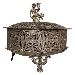 Filigree Hand Carved Silver Jewelry Bowl