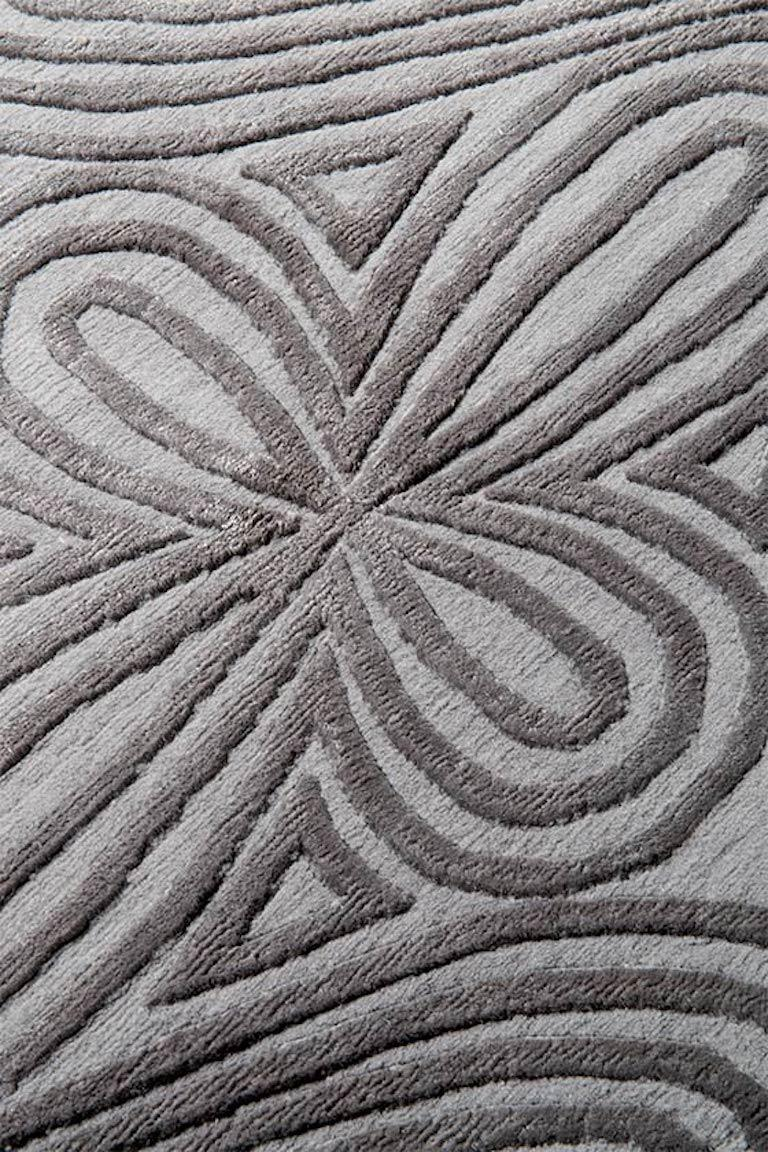 Nepalese Filigree Hand-Knotted 10x8 Rug in Wool and Silk by Christopher Kane For Sale
