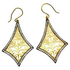 Filigree Kite Cubic Zircon Earrings