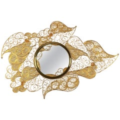 Filigree Mirror in Gold Plated Brass