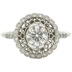 Filigree Old European Diamond Ring 1 Carat Honeycomb Cluster Platinum