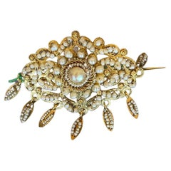 Filigree Pearls Yellow Gold 1800s Spanish Brooch