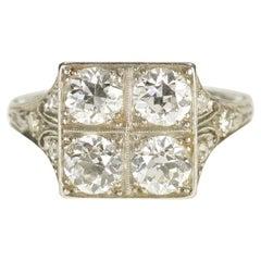 Filigree Platinum and Diamond Art Deco Engagement Ring